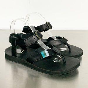 Teva | Black Leather Original Sport Thong Sandal 9